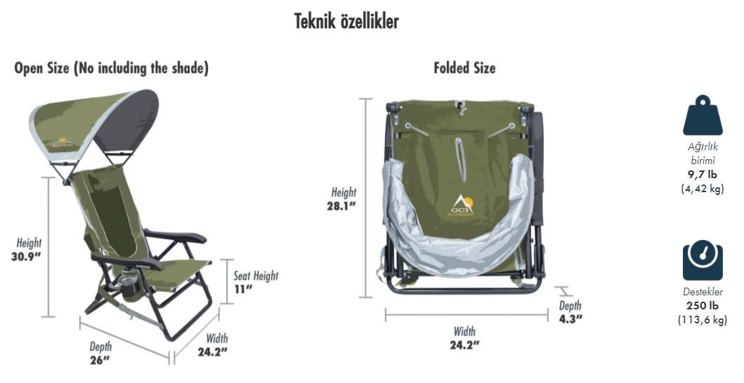 Gci Outdoor SunShade Backpack 4 Kademeli Güneşlikli Katlanır Kamp Sandalyesi
